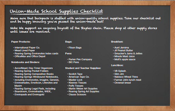 Union-Made School Supplies Checklist, from the Twitter feed of AAFSCME