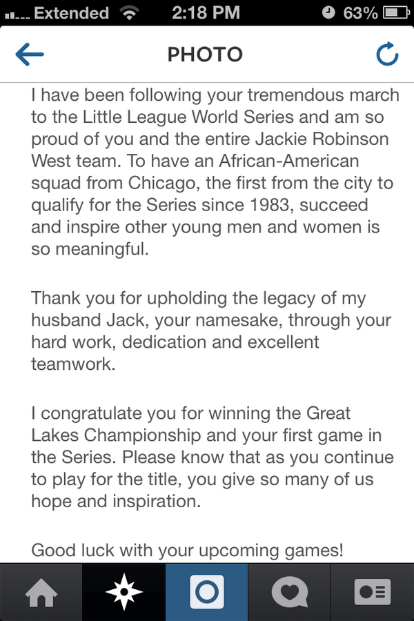 The letter #JackieRobinson's Wife, Rachel Robinson wrote to EACH player of #JackieRobinsonWest. ❤ #JRW #LLWS14 #Love http://t.co/Y1BqFnK8Ou