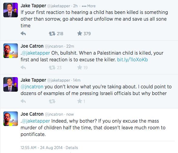 .@JNCatron calls CNN anchor, @JakeTapper out on his false morality [Link from Joe's tweet: http://t.co/y2fuyYBrhD ] http://t.co/F1Wk8EsSVS