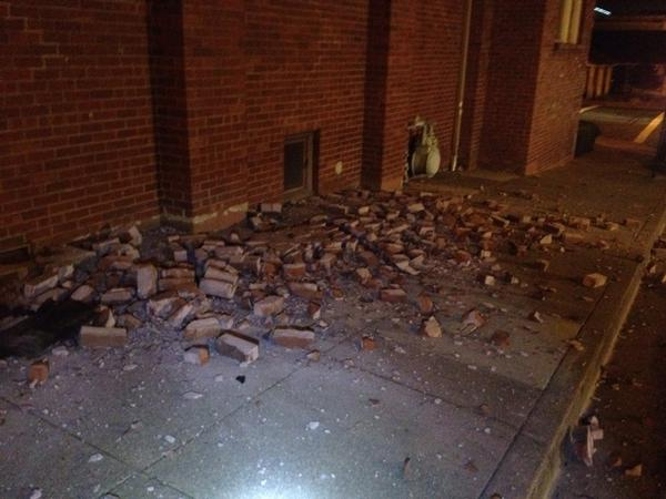 Fallen masonry from Methodist church in Vallejo. #sfquake http://t.co/frinmxDYeS