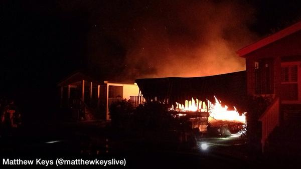 Another photo of the mobile home park fire in Napa following the quake - http://t.co/gHazxlNFBX