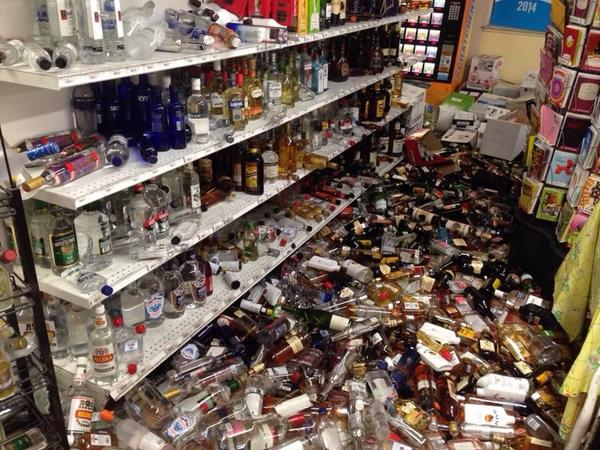 PHOTO: Quake damage in #Napa at Ranch Market store. Photo by @FoxNews crew, photo Tom W & @ClaudiaCowan1 #napaquake http://t.co/QclaTH4u0t