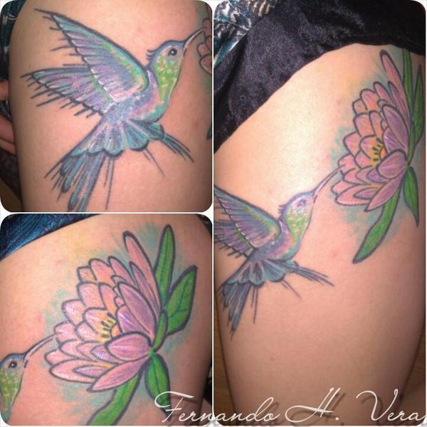 Fernando H Vera On Twitter Colibrí Y Flor De Loto Tattoo By