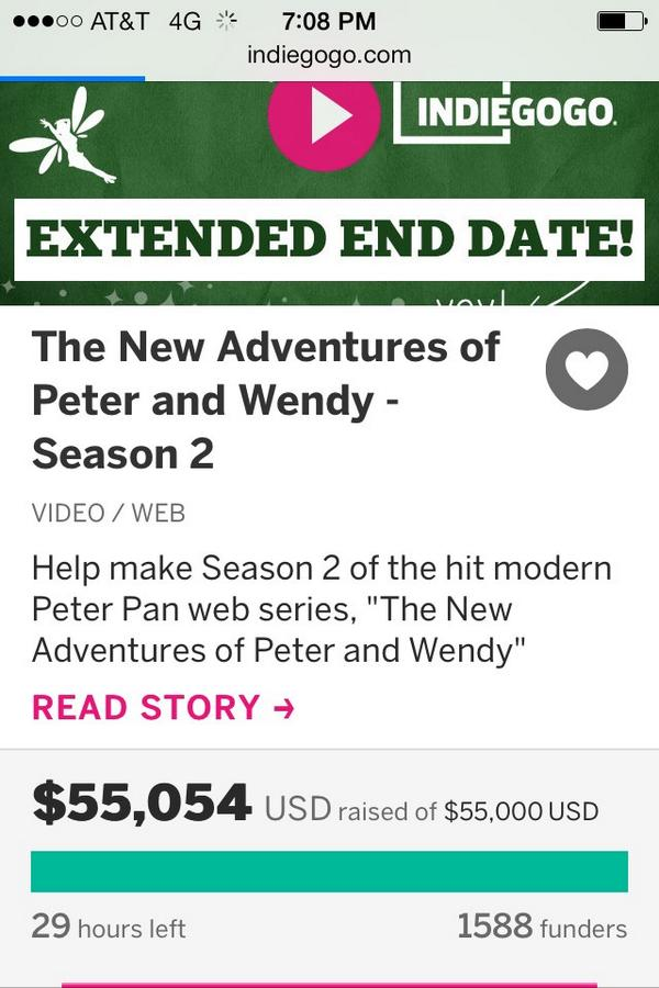 Best news to get before @streamys!!! RT @NewPeterWendy: Neverlandians you did it! YOU #SAVEDNEVERLAND THANK YOU! http://t.co/o6S2BtEy7p
