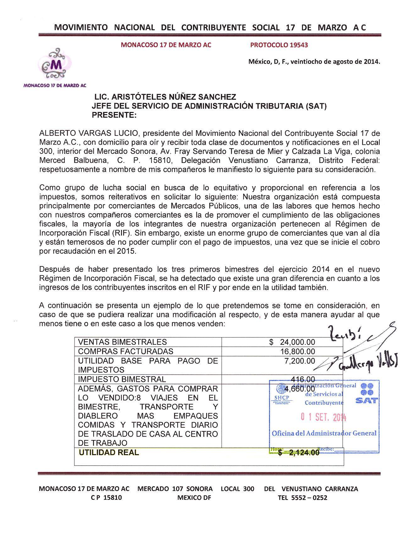 PETICIONES DEL MOVIMIENTO 17 DE MARZO PARA MODIFICAR EL RIF