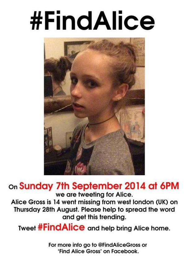IMPORTANT: We want to get #FindAlice trending tomorrow at 6pm to raise awareness RT this tweet! http://t.co/02iVpqc00j""