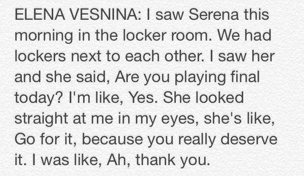 Vesnina on a conversation she had with Serena today: http://t.co/r3zStwAAJs