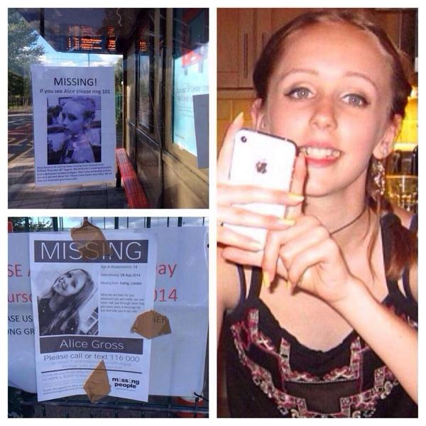 Can everyone RT until this beautiful child is found.. 14yr old Alice .. #FindAlice #RT #FindHer http://t.co/GH24Wcj07V