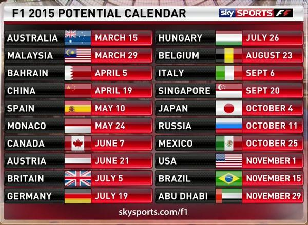 Calendario Formula1.Sky Sports F1 On Twitter The Provisional 2015 F1 Schedule Has Been