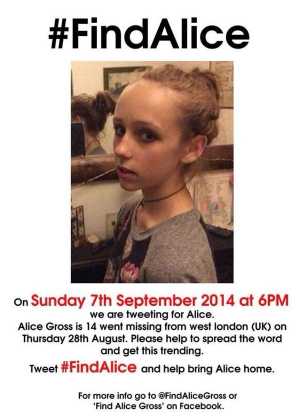 Just over 30 min until #FindAlice appeal aims to raise awareness of missing Alice Gross, 14. How you can help: http://t.co/pmCdHZiv0k