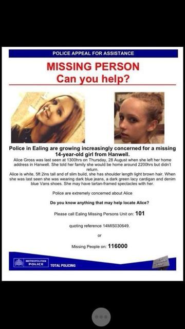 Local 14YO Alice Gross is still missing. Please RT just in case anyone has some vital info that'll help #FindAlice http://t.co/f5MqtopC4r