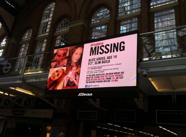 Great to see London Liverpool St station joining the hunt to #FindAlice (Pic via Find Alice Gross FB group) http://t.co/E3cQv24thC