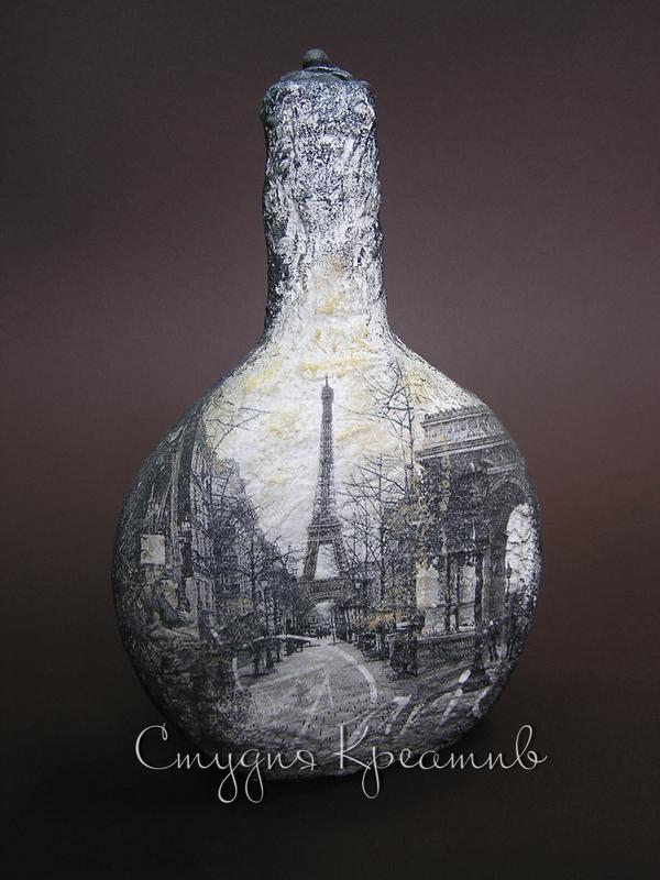 бутылка с украшением декупаж