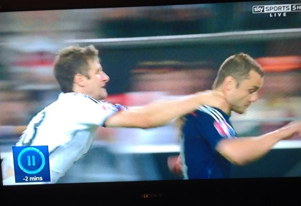 So, if you grab someone around the throat at full pelt but you're World Champions, it's not a red card. Oh, okay: http://t.co/Z7N5xzKiU3