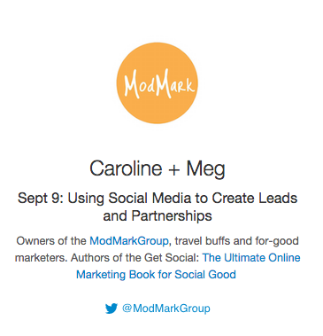 1 HOUR! #BizHeroes Caroline+Meg from @ModMarkGroup are joining us to talk Social for Social Good. http://t.co/0GpIda0GEI""