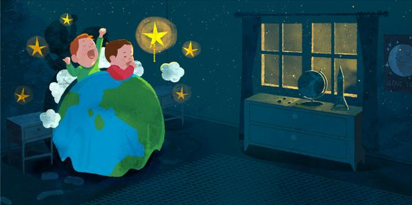 @WriterSideUp Illus. for 2015 book OUTER SPACE BED TIME RACE written beautifully by @RobSandersWrite #sharpschu http://t.co/wdcrP7pvK7