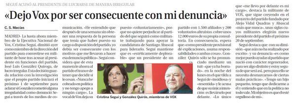 . @ @Cris_Segui_ explica a @CarmenSMacias (@larazon_es) su abandono de la Ejecutiva de #Vox y su apoyo a Abascal: http://t.co/IIWRZsSAT5