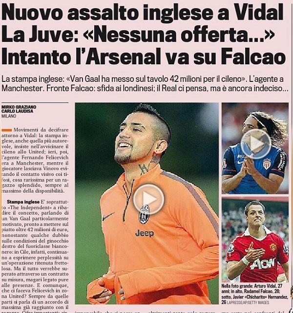 RUMOUR: Man United reach an agreement with Juventus Arturo Vidal [Gazzetta Dello Sport]