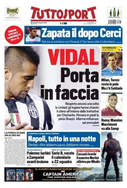 Juventus slam the door on Man Uniteds Arturo Vidal approach [Tuttosport]