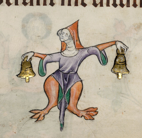 The Bell Ringer (@BLMedieval, Luttrell Psalter) http://t.co/DYM8BUgVEq