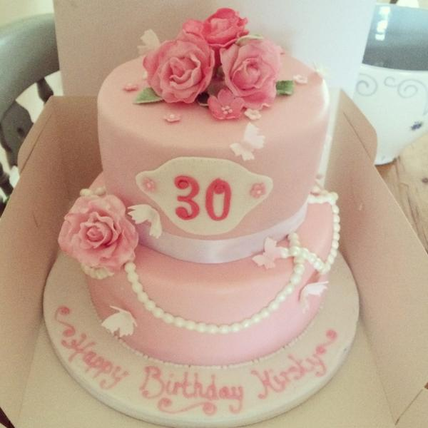 2 Tier Pretty Pink 30th Birthday Cake With Handmade Roses And Pearl Drapes Pinkpictwitter QIDmF1hqsg