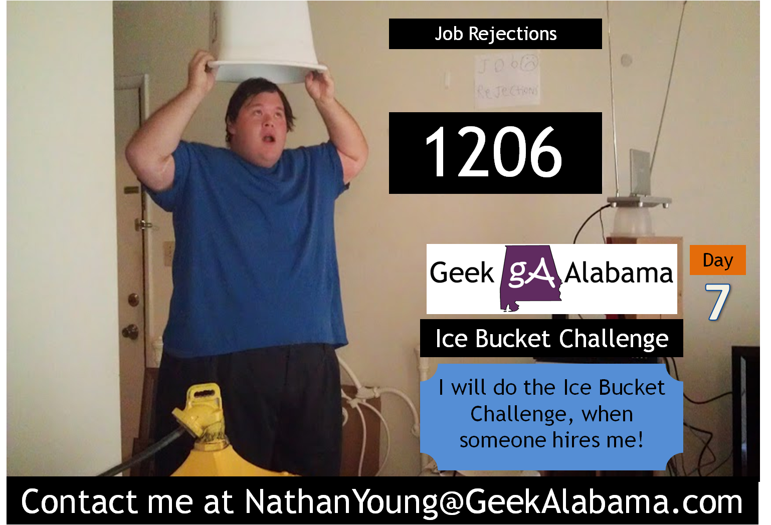 Nathan Young on Twitter: Day 7 of the Job Search Ice Bucket Challenge, still at 1,206 job rejections. #IceBucketChallenge http://t.co/l2FFkCnMdg