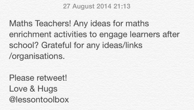 Pete Sanderson  on Twitter: Maths Tweachers! Any enrichment ideas/links/orgs for after school maths? Pls RT #maths #mathchat #ukedchat #edchat http://t.co/UNWrnNaSnV