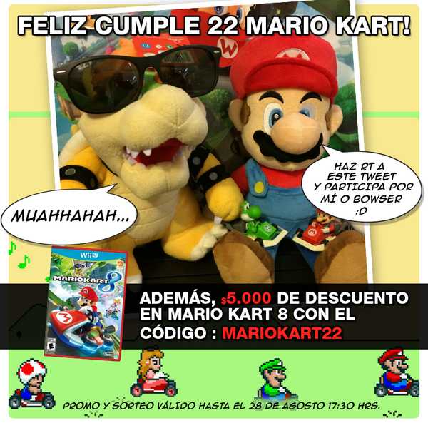 Feliz cumple Mario Kart! Haz RT y participa por un peluche, además aprovecha el código de dcto. MARIOKART22 por MK8! http://t.co/NcLZePFvYp