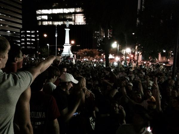 #gamecock fans turn out to defend the State House. Shouting down the #Aggies. http://t.co/PEYe07LT27