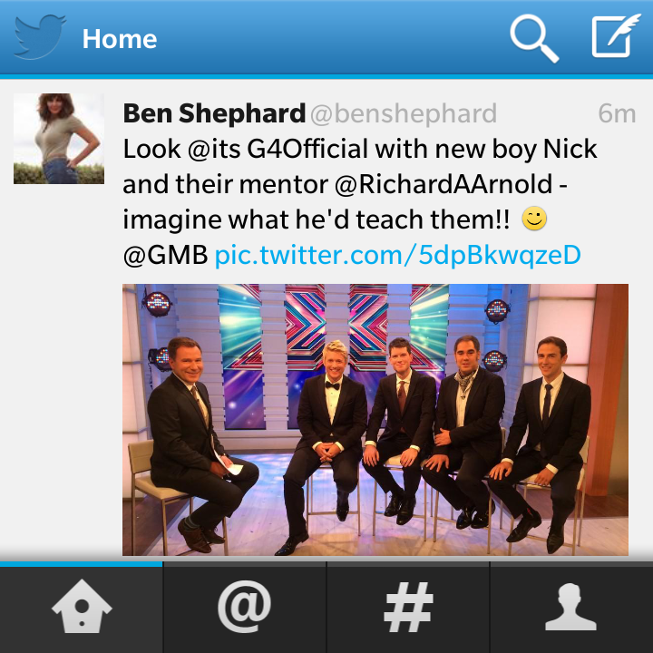"""@oneboxtele: @carolvorders @benshephard Why is Twitter swapping your profile pics on my phone?! http://t.co/nYHDqNQcNy"" hilarious x"