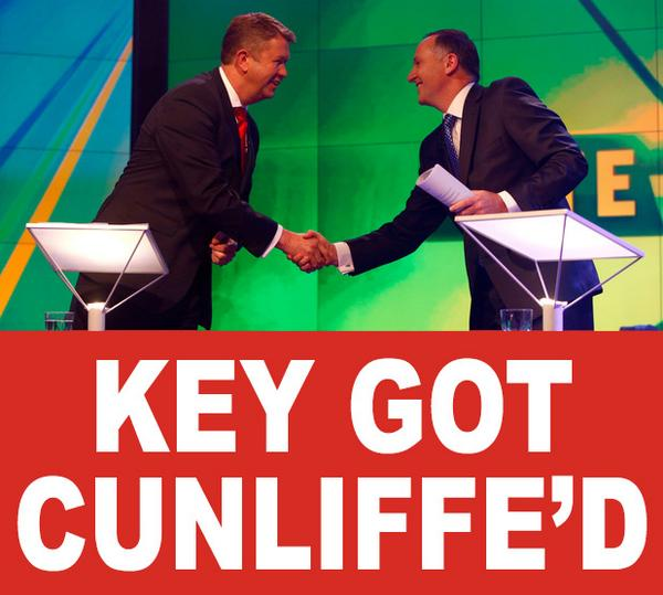 I think it's obvious what happened here tonight. #KeyGotCunliffed #LeadersDebate #Vote2014NZ http://t.co/vqeeKeyoDq