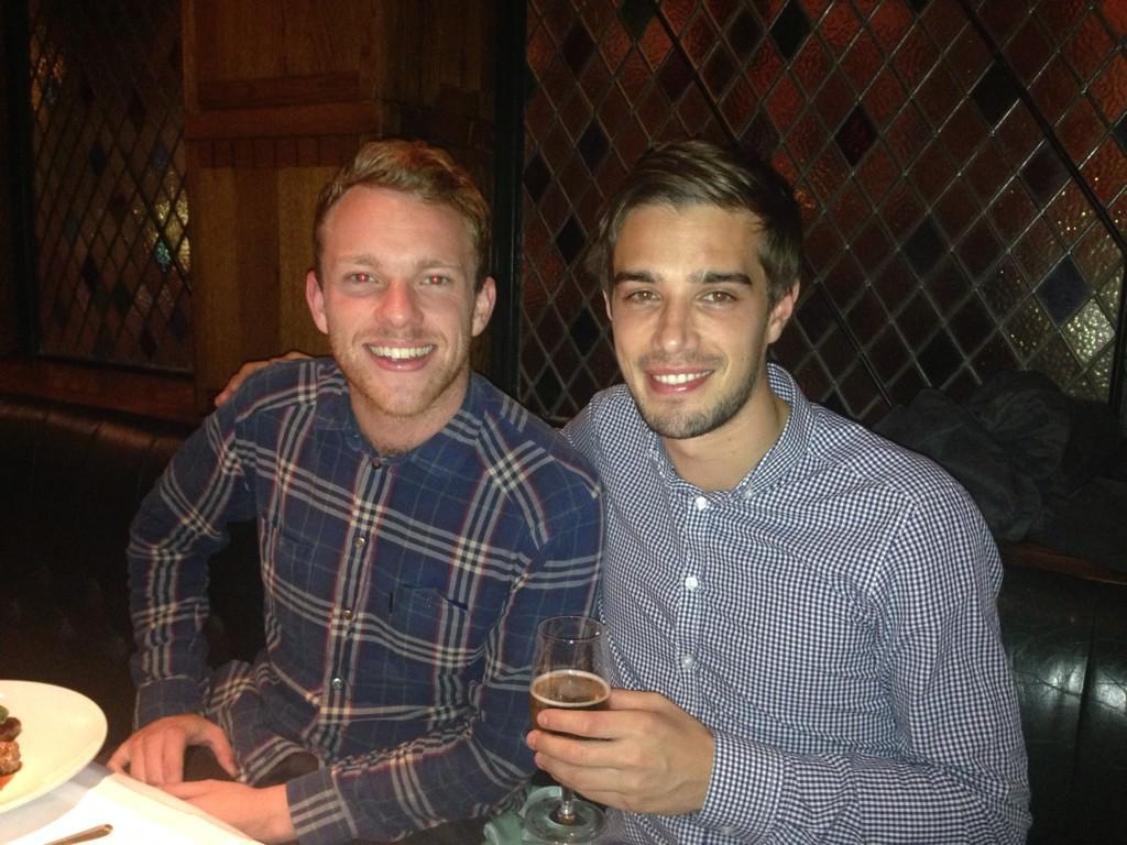 Q: Are these the 2 best looking men in #HMI or dare I even say, global media?! Snap taken at a team dins #tbt http://t.co/GJ878cyAhD