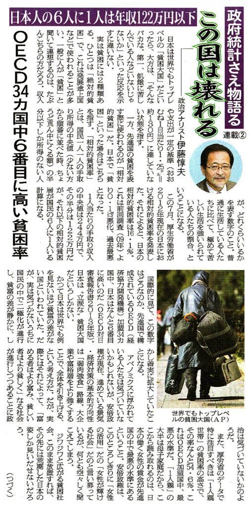 日本人6人に一人は年収122万円以下の衝撃、OECD34ヵ国中で貧困率ワースト6位 . http://t.co/GN7dJfME14