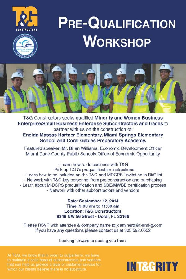 mdcps oeo on twitter how to bid with tg constructors prequalification workshoplooking for small and minority owned subcontractors mdcps