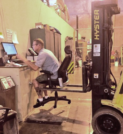 Photo of the Day: That ... is an expensive office chair http://t.co/8T2zJtWpFg #forklift #humor http://t.co/ntv1fobuqv