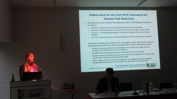 Our work & recommendations for Post 2015 Disaster Risk Reduction Framework #IDRC2014 #smem http://t.co/txsyTEfAG3