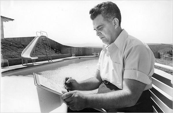 Jack Kirby, sketching by the pool in high-waisted slacks. Happy birthday, bad-ass. http://t.co/IbsythWWzA