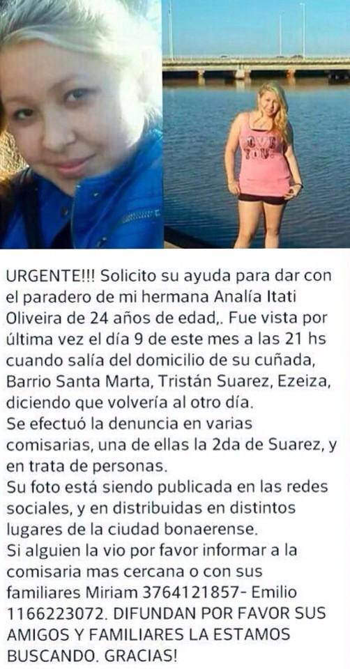 Desaparecio Analia Itati Oliveira el 09/08 en Ezeiza. Informacion en la foto. RT! @SANTIAGODELMORO @catherine_fulop