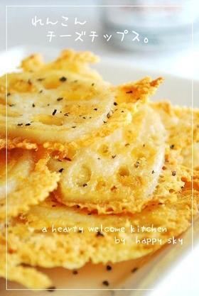 ★れんこんチーズチップス★材料れんこん6センチピザ用チーズ100~150g(お好みにより)ブラックペッパー(粗びき)少々サラダ油少々作り方