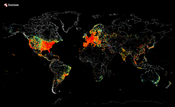 Here's a heatmap of every device on the Internet. Source: http://t.co/yPkhULLFGC http://t.co/emCyG3Siai
