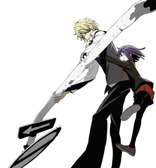 新規ビジュアル第7弾公開!池袋最強の男・平和島静雄さん!そしてそして!新キャラの粟楠茜ちゃんです!お久しぶりです&はじめまして!どうぞよろしくお願いします!(ANX P横山) #drrr_anime