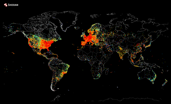 Map of every device in the world that's connected to the internet. http://t.co/95ul5qHUXx http://t.co/9TnikxJD2j