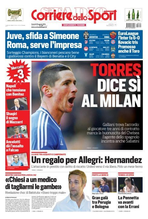 Chelseas Fernando Torres says yes to AC Milans 3 year deal, Roma interested too [Corriere Dello Sport]