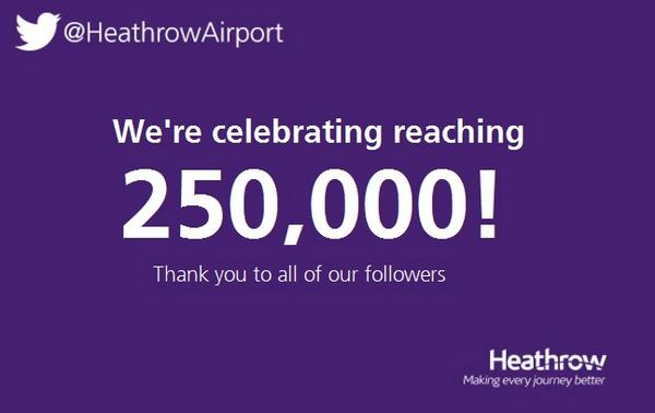 Thanks for helping us reach 250k followers! We've got 10 x £25 iTunes vouchers to giveaway! RT to win! #Heathrow250 http://t.co/v34yseVGft