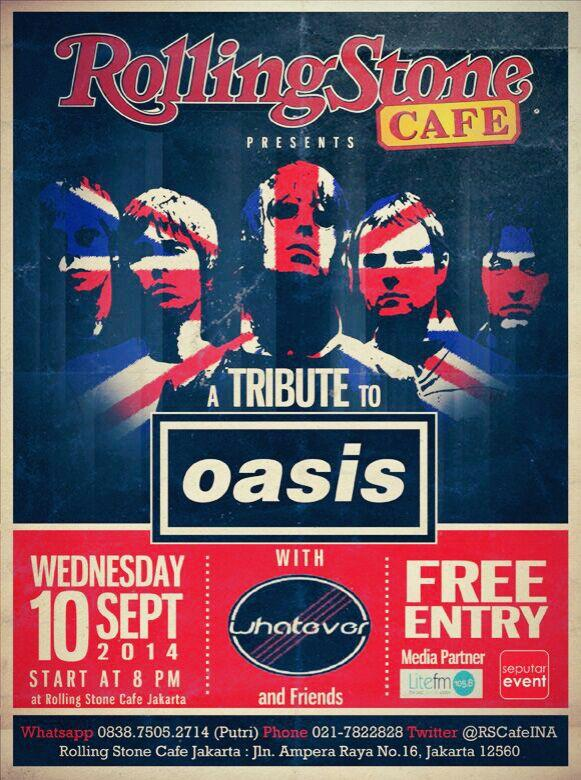 A Tribute to OASIS Wed, 10 September 2014 di Rolling Stone Café,