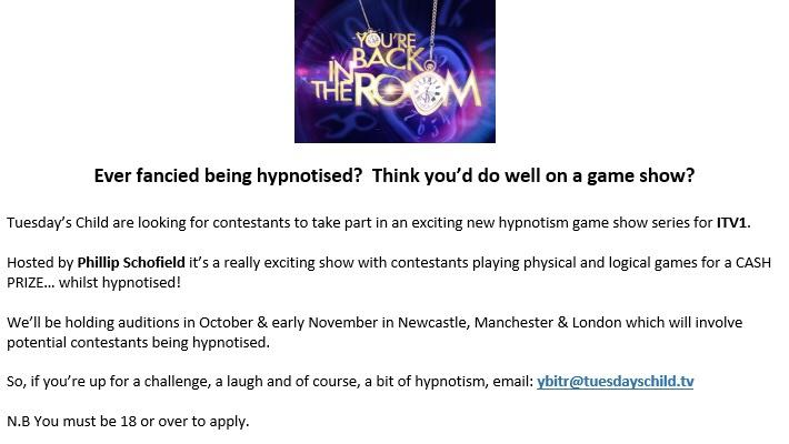 Afternoon tweeps! Fancy being a contestant on my new hypnotism game show @YBITR  Apply now at YBITR@tuesdayschild.tv http://t.co/nxq6ezDfvk