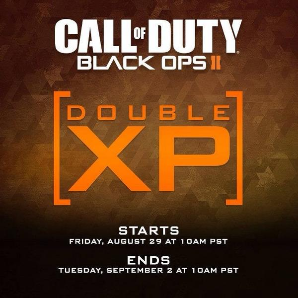 2XP is now LIVE in #CODGhosts and #BlackOps2! Enjoy the long weekend - we'll keep the 2XP on until Tuesday morning. http://t.co/wqLmt0pyH4