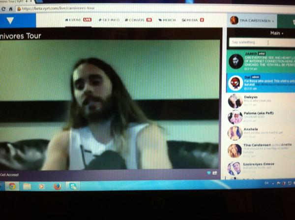 Getting dressed with @JaredLeto live on @VyRT! This was so funny!!