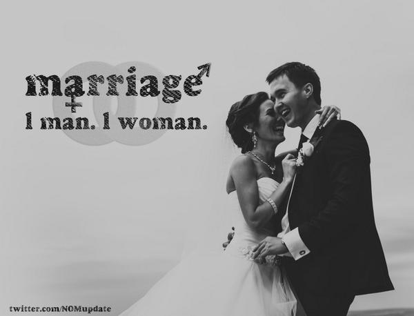 Marriage = #1man1woman. RT if you agree. http://t.co/1Ee5I1H3nr