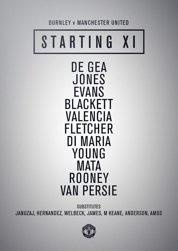#mufc starting XI: De Gea, Jones, Evans, Blackett, Valencia, Young, Fletcher, Di Maria, Mata, Rooney, van Persie. http://t.co/3hrmnV6NLT